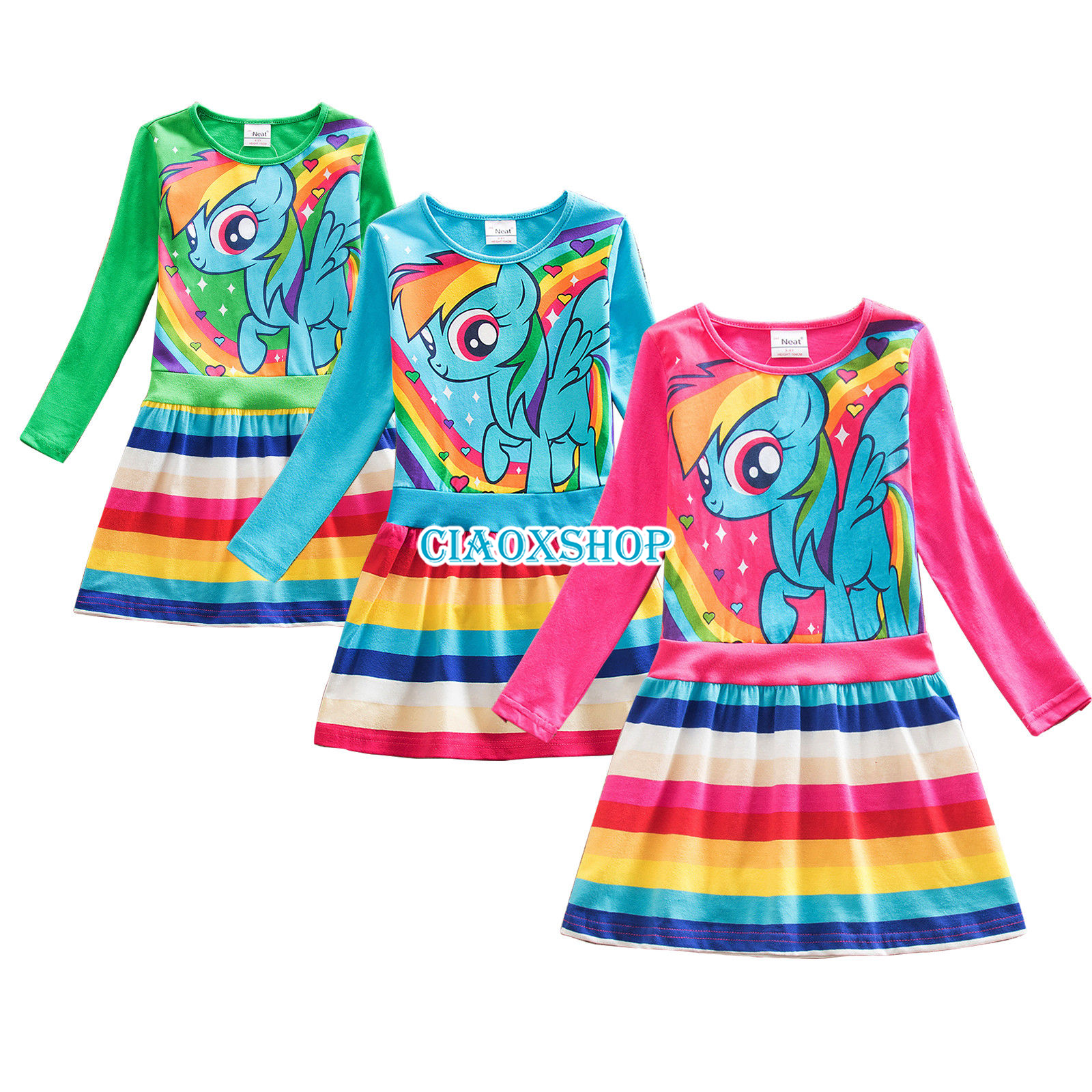 Rainbow My Little Pony Princess Dress Holiday Girls Dresses Party ...
