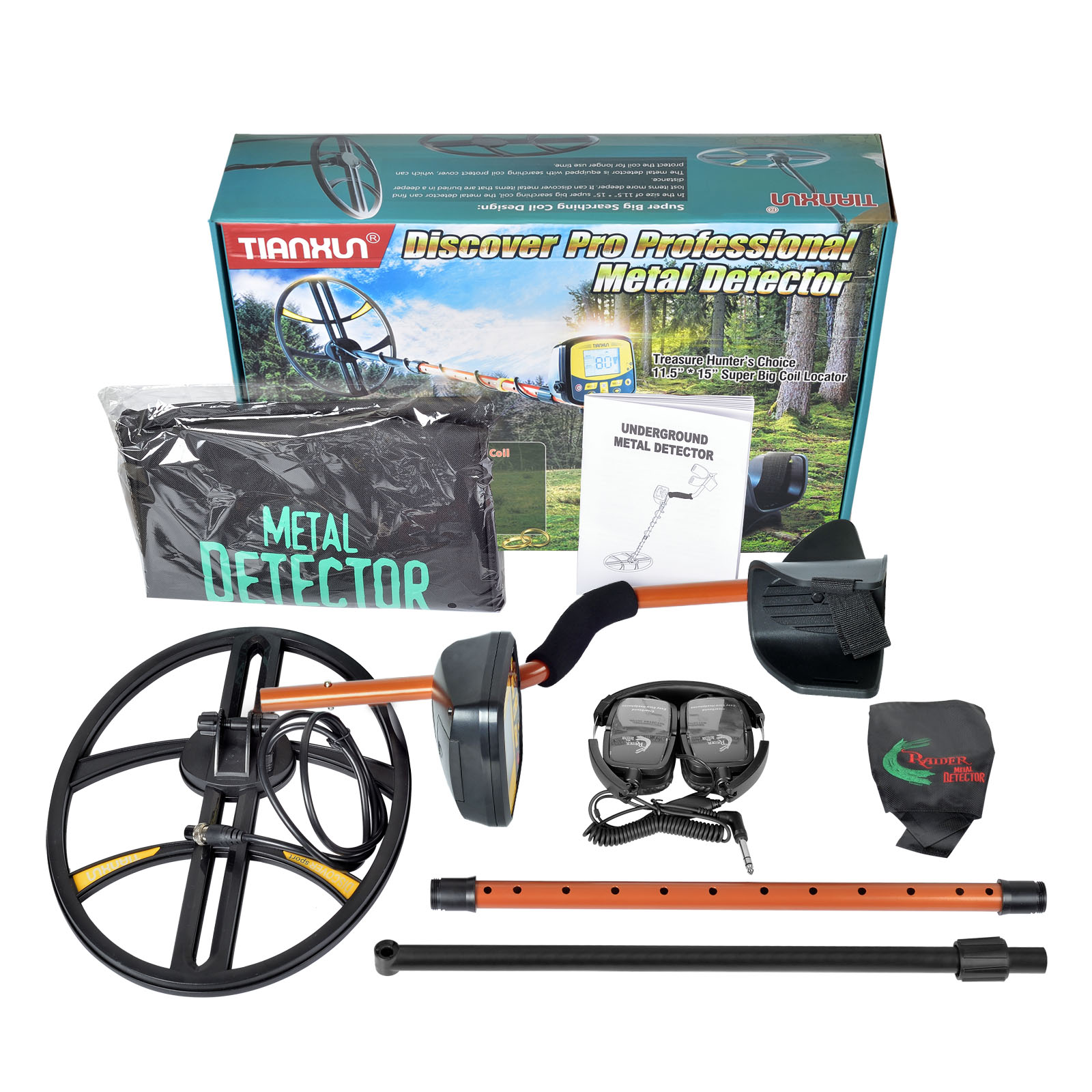 Details about TX-950 Metal Detector w/Waterproof Coil with Headphones ,  Free Shipping