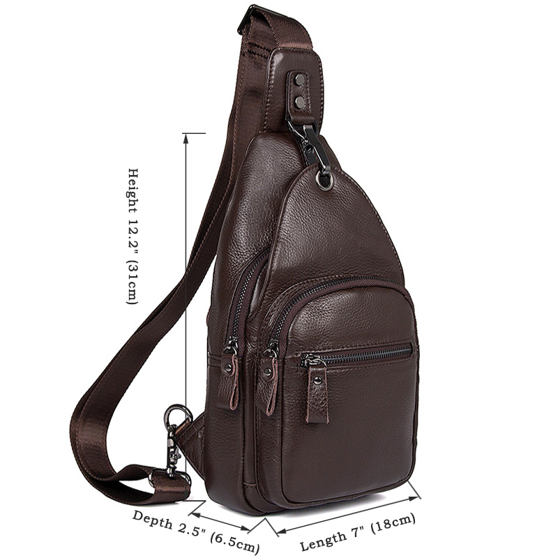 59ea6e5742 Details about Augus Genuine Leather Sling Bags For Men Chest Shoulder  Crossbody Travel Bag