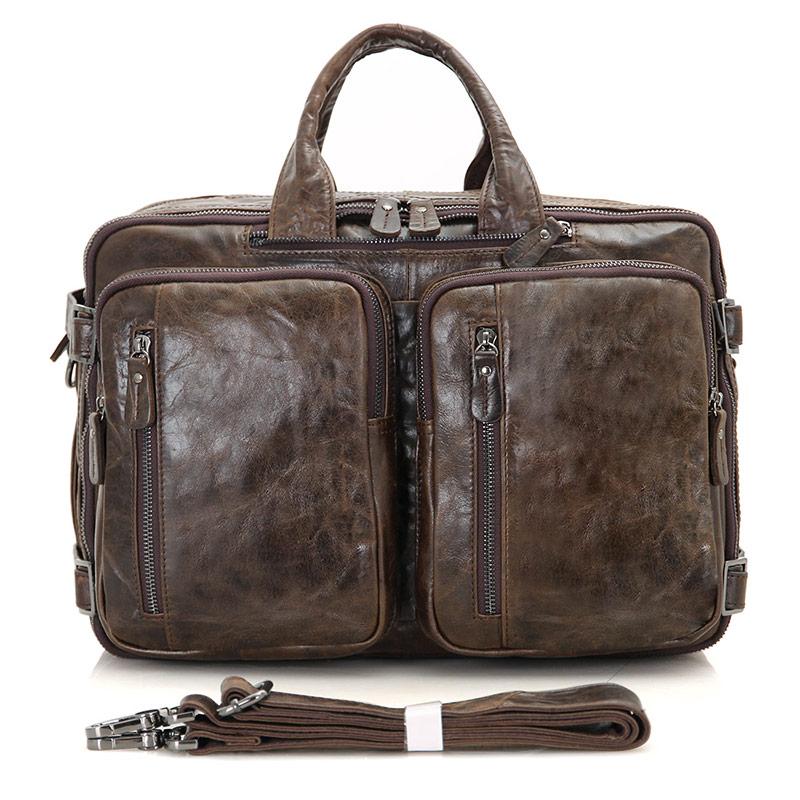 J.M.D Men/'s Cowhide Cuir Sac D/'ordinateur Portable Document Brief Case sac d/'épaule Sac à dos