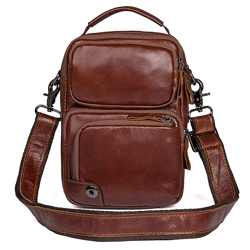 cbeeedd709c7 Details about J.M.D Genuine Leather Small Crossbody Bag Brown Vintage  Messenger Bag For Unisex