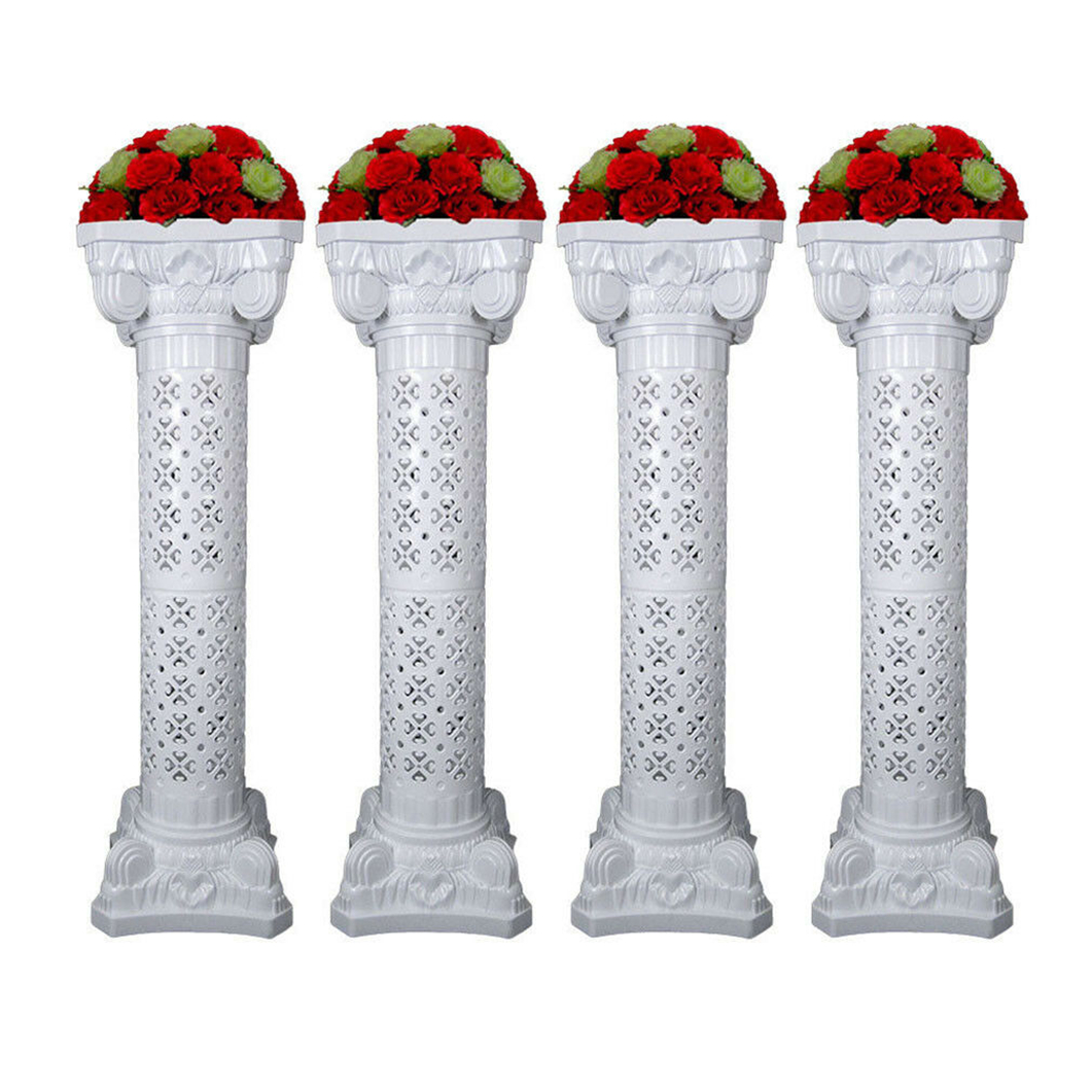 2/4PC White Plastic Roman Flower Pillar Wedding Columns