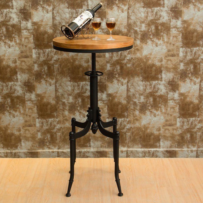 Details About Retro Wood Top Kitchen Tail Wine Bar Table Indoor Patio With 2 Covers