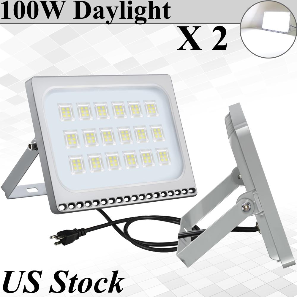 Image Is Loading 2x 100w Viugreum Ultra Thin Led Flood Light