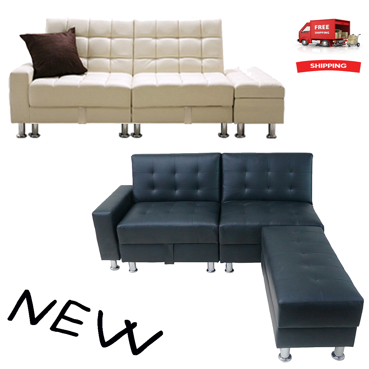 Image Is Loading New Style Sofa Bed Seater Foldable Storage Sectional