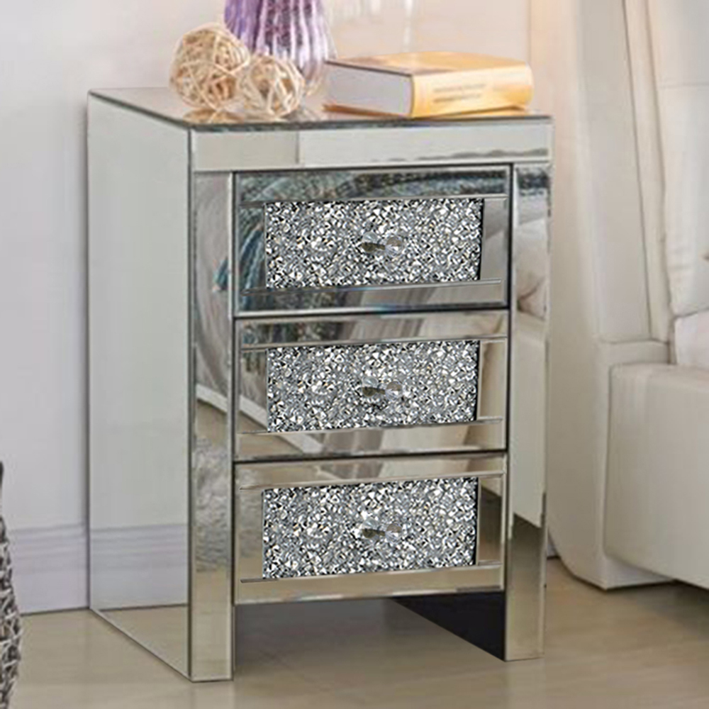 new product 53279 0d7d7 Details about 3 Drawers Mirrored Bedside Cabinet Tables Nightstand Glass  Side Table Bedroom