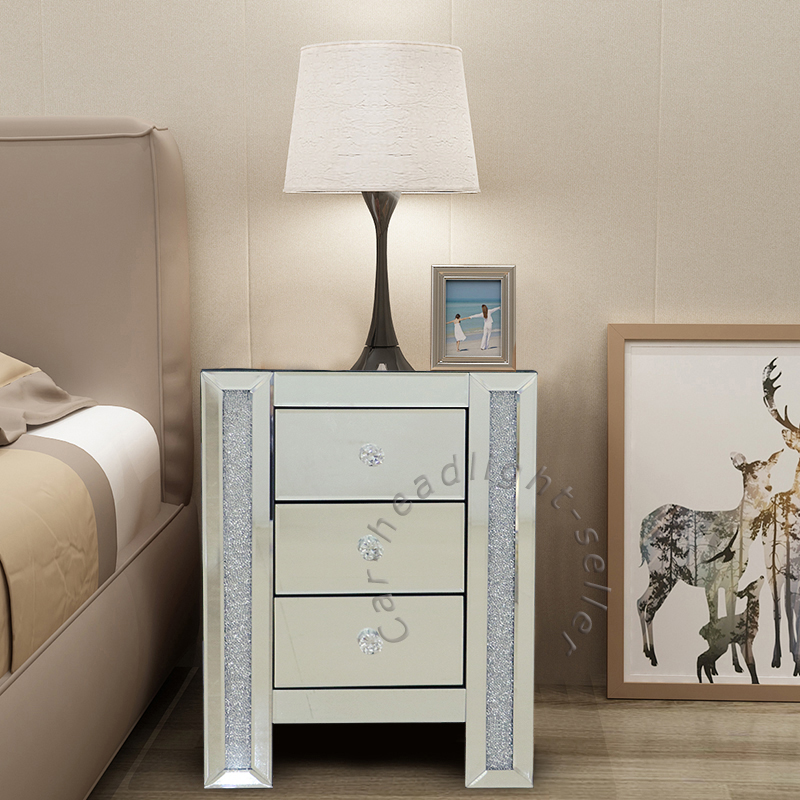 Details about Mirrored bedroom Furniture set Crystal Glass Table Chest of  Drawer Bedside Table