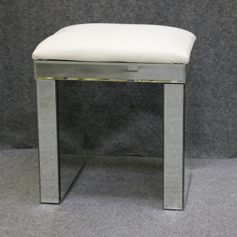 Mirrored Chair With White Faux Leather,piano Stool With