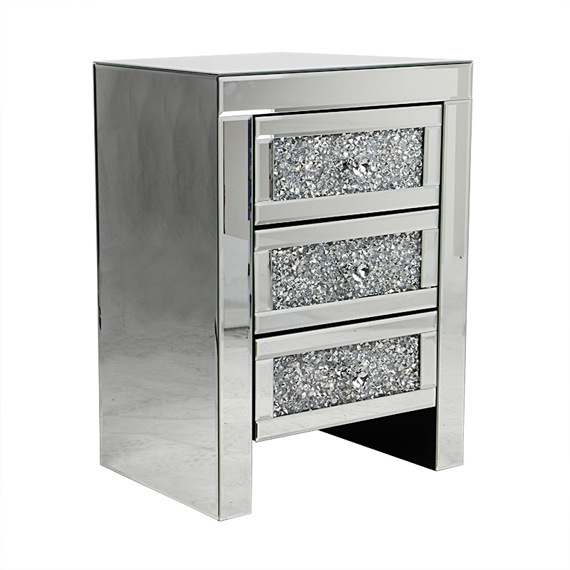 Sparkling Mirrored Glass 3 Drawers Crushed Crystal Diamond