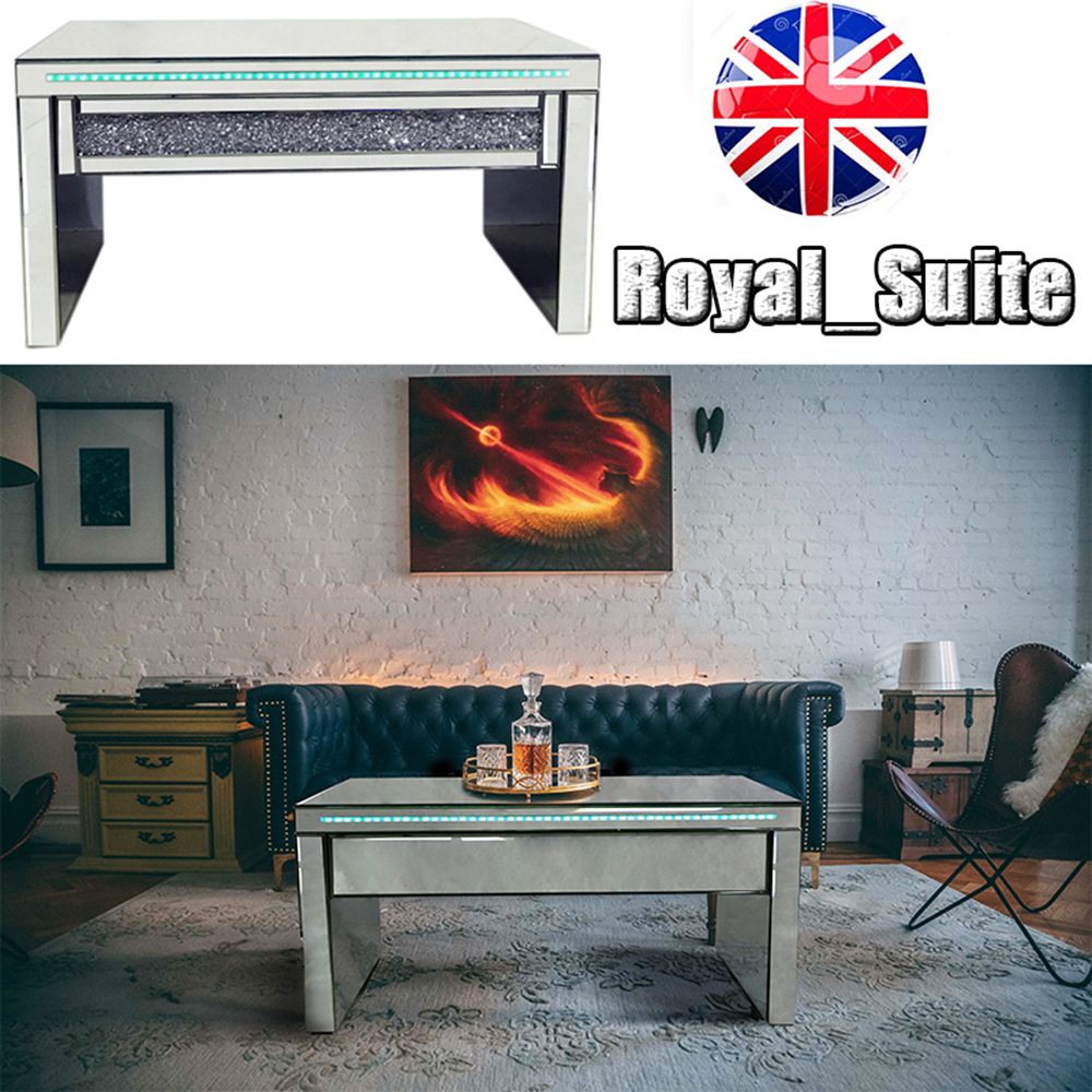 Details About Royal Luxury Mirrored Living Room Furniture Coffee Console Table Tv Unit Set