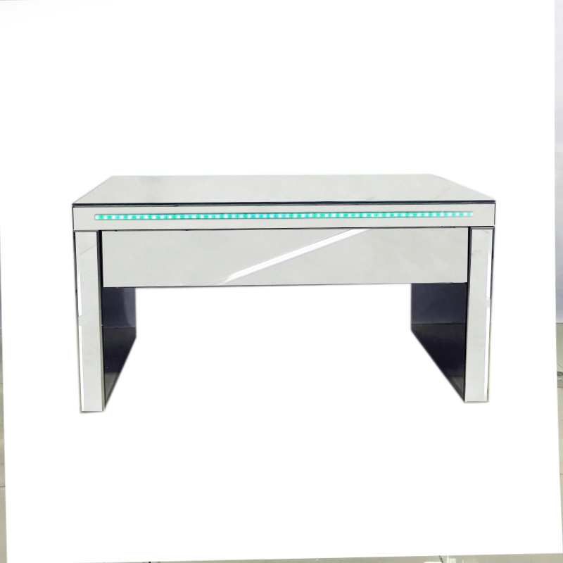 Details About Led Light Mirrored Glass Coffee Table With Drawer Home Office Side Table Cabinet