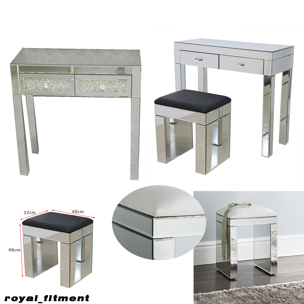 Details About Mirrored Furniture Gl Dressing Table 2 Drawers With Console Stool Bedroom F