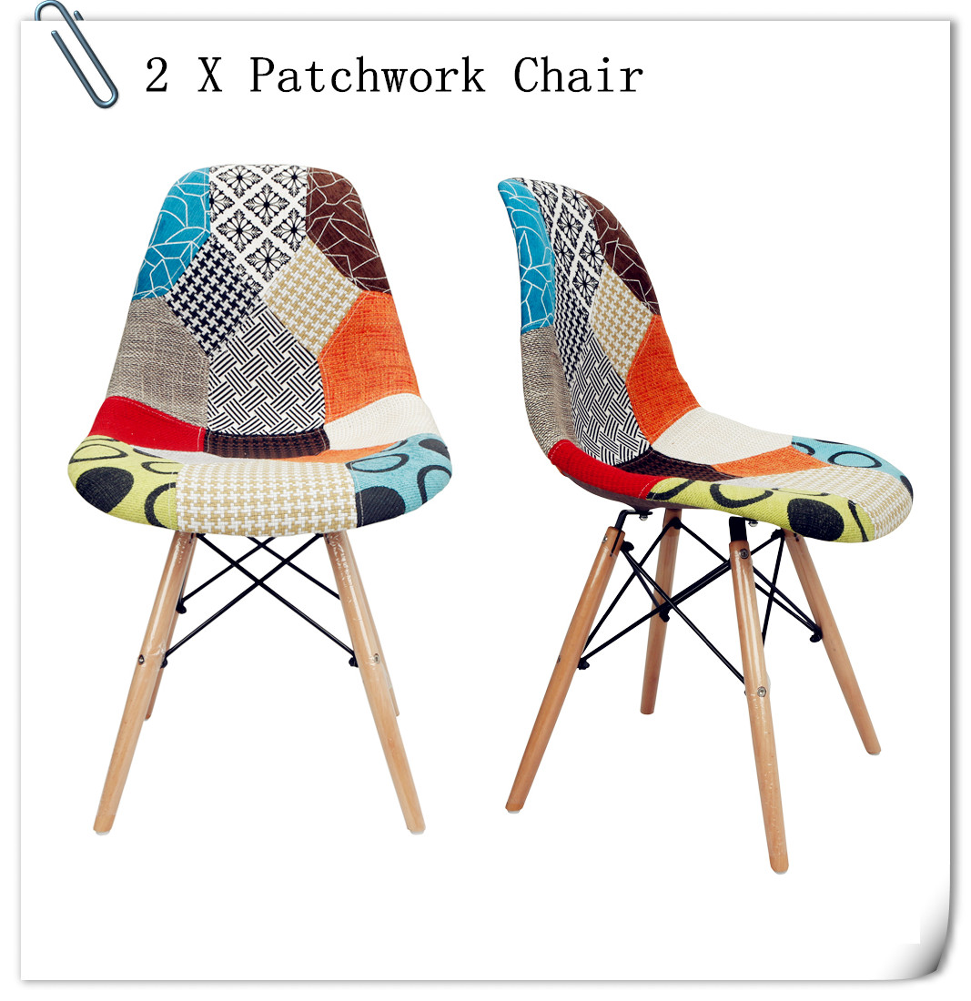 2 X Retro Patchwork Chair Fabric Dining Lounge Chairs Wooden Home Dinning