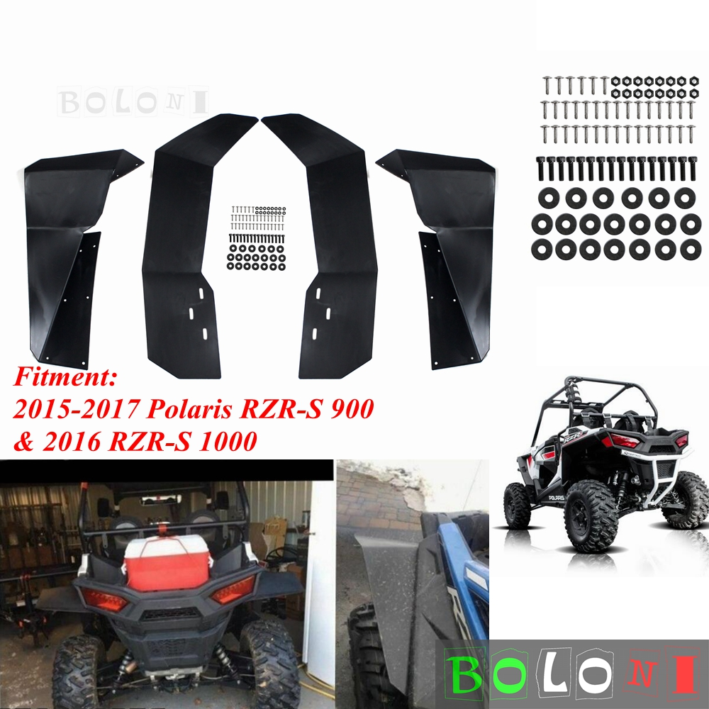 Polaris RZR-S 4 900 1000 Front /& Rear Mud Flap Fender Flares Guard Set