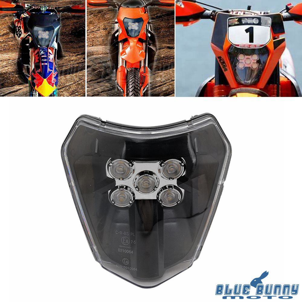 Motorcycle Supermoto LED Headlight Black For EXC XCF XCW
