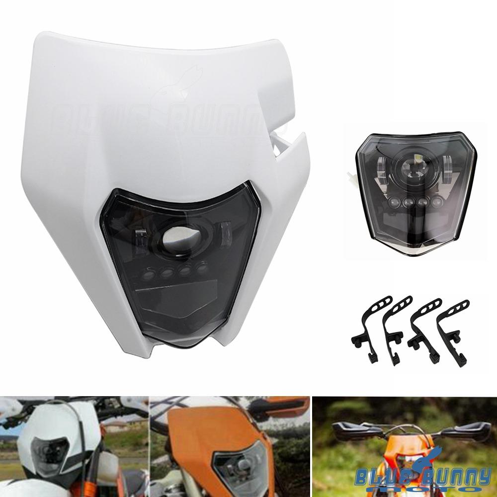 White Universal Dirt Bike Motocross Fairing Headlight Lamp With Mounting Kit | eBay