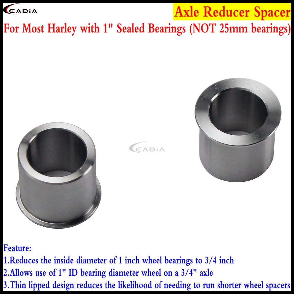 Set of Wheel Axle Bearing I.D Adapter Reducer 25mm to 3//4 for Harley 2