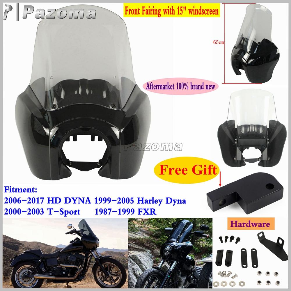 Black Headlight Fairing W// Smoke Adjustable 15/'/' Windshield For Harley FXR 87-99