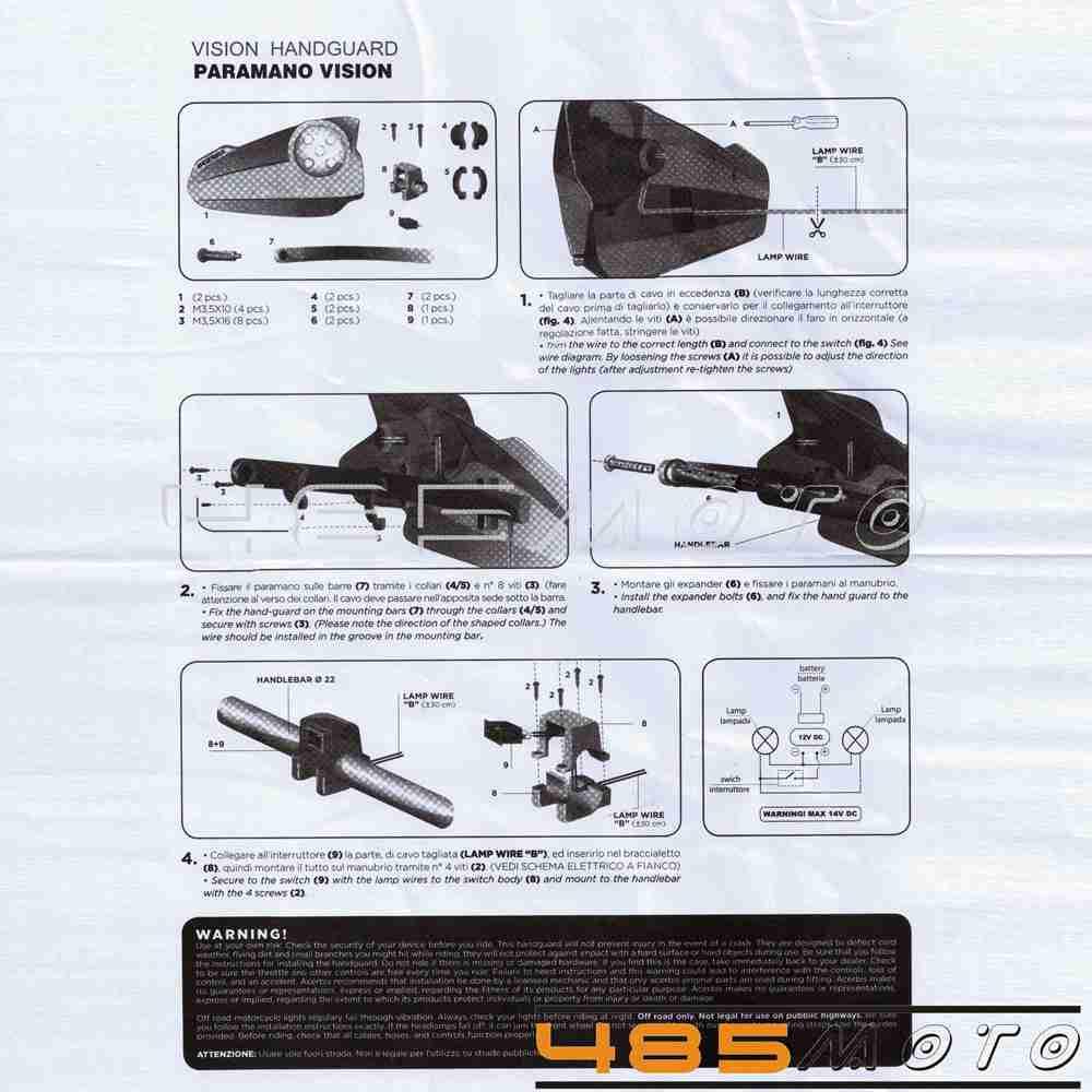 Motorcycle 7/8'' Handlebar LED Vision Light Hand Guards