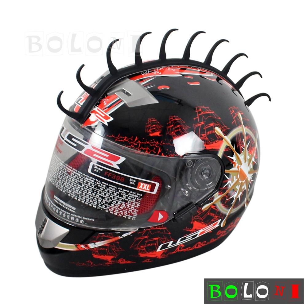 1x Motorcycle Black Rubber Half Shell Helmet Mohawks Headwear Sticker Universal