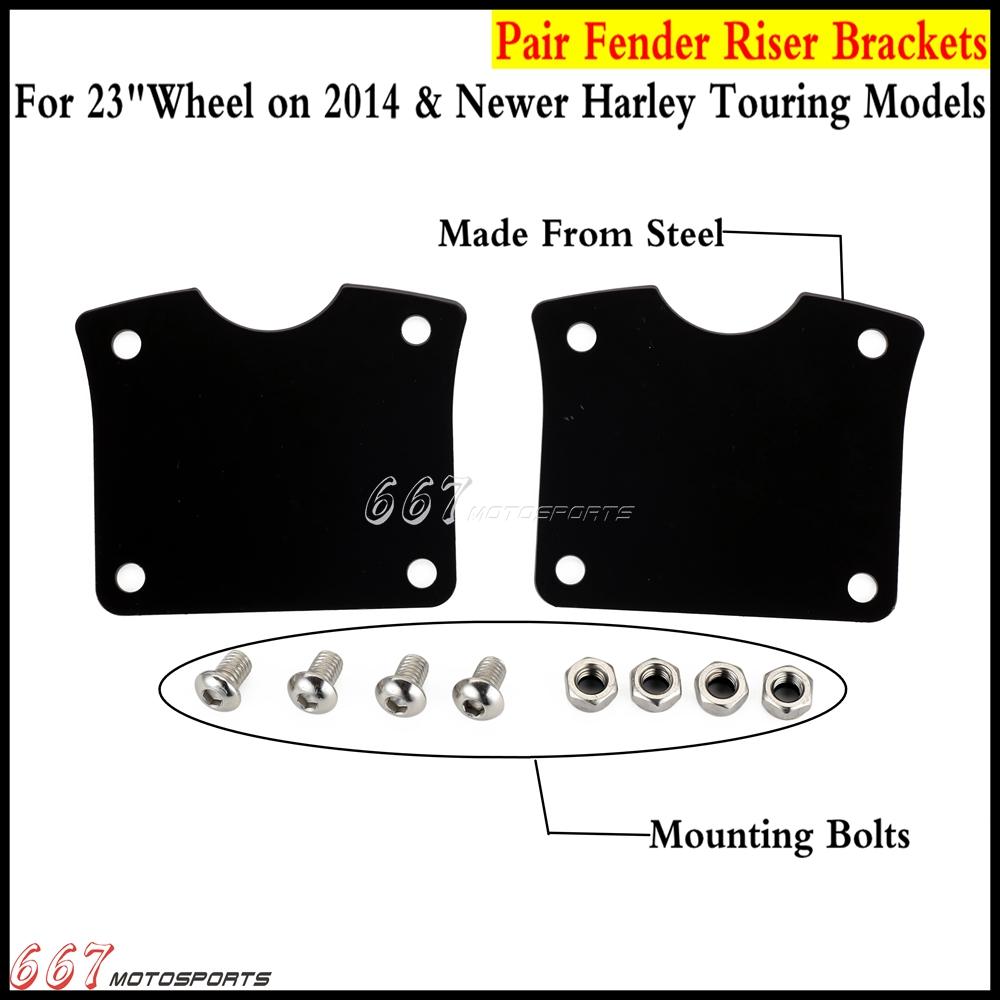 """Fender Riser Black Brackets For 21/"""" Wheel Harley Touring Road King FLHX 2014-UP"""