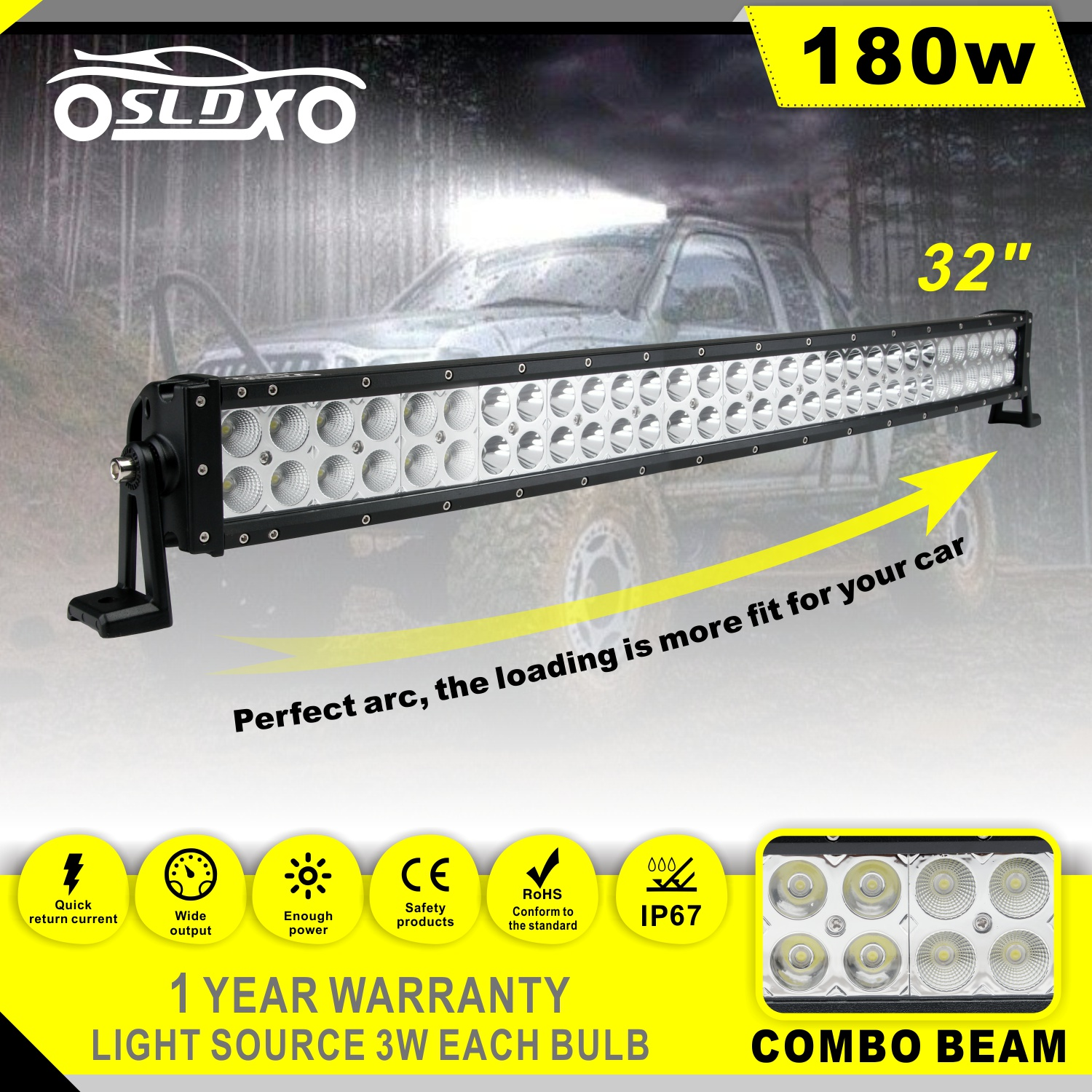 Sldx 32180w Curved Led Light Bar 2pcs18w Free Two Wiring Arc Harness 2pcs 18w Spot Ip67