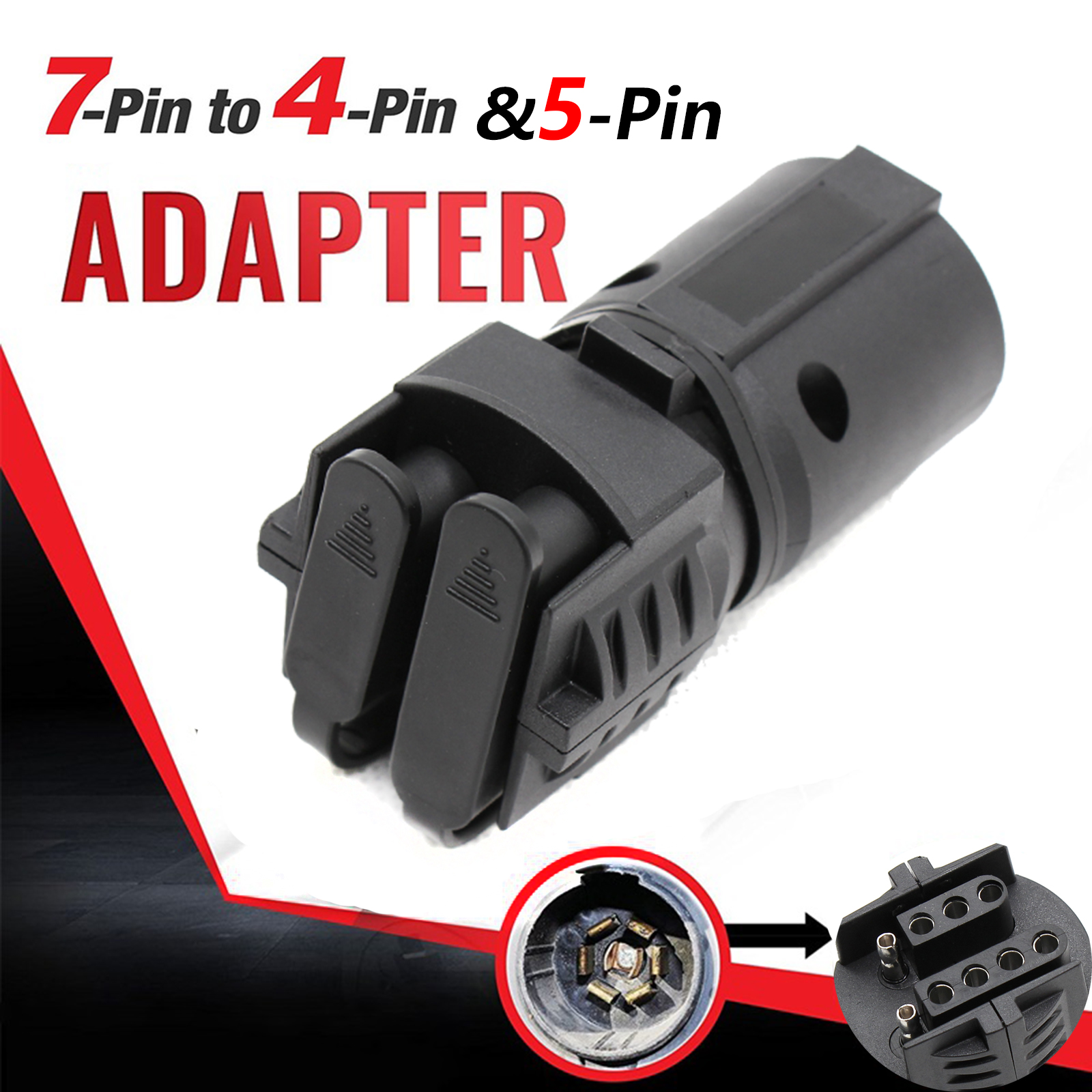 7 To 4 Way Flat 5 Pin Plug Trailer Light Adapter Connector