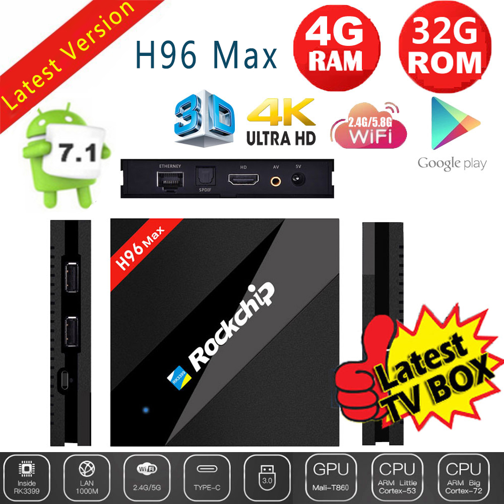 Details about H96 MAX 4G+32G Android 7 1 TV Box RK3399 Hexa Core Cortex  H 265 4K HDR10 5G WiFi