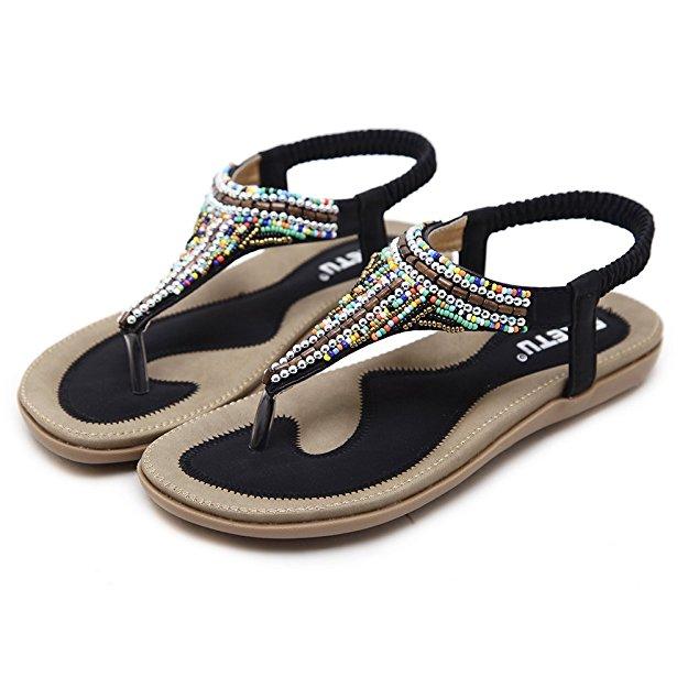 ceea5c762303 Details about Women Ladies Casual Boho Beach Sandals Toe Post Shoes Flats Flip  Flops Black