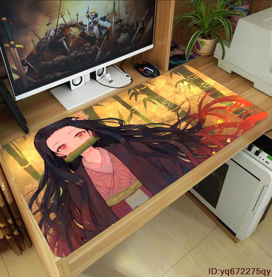75x40 cm Lamgo Demon Slayer Kimetsu No Yaiba Rectangle Anime Non Slip Rubber Mousepad Mouse Pads//Mouse Mats Case Cover with Designs for Office Home Woman Man 30x15.7 Inch
