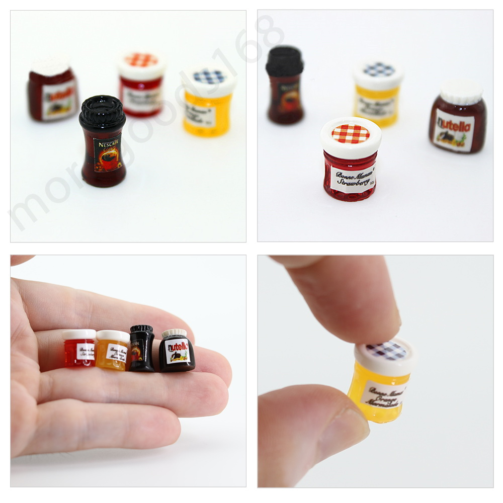 4pcs 1:12 Dollhouse Miniature Jam Coffee Food Doll House Kitchen Furniture \