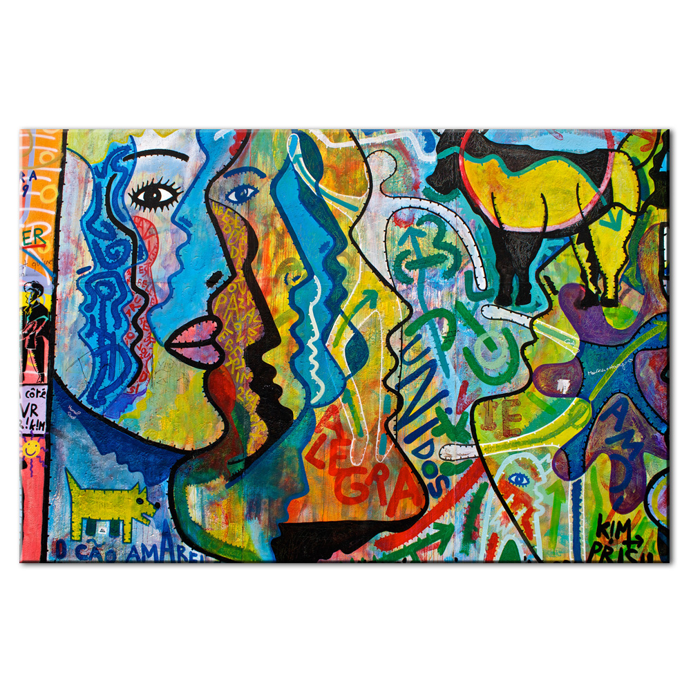 Graffiti canvas wall art large abstract face street art prints giclee 24x36