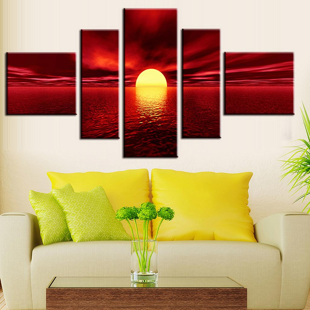 Framed Huge Sunrise Red Landscape Canvas Prints Painting Pictures ...