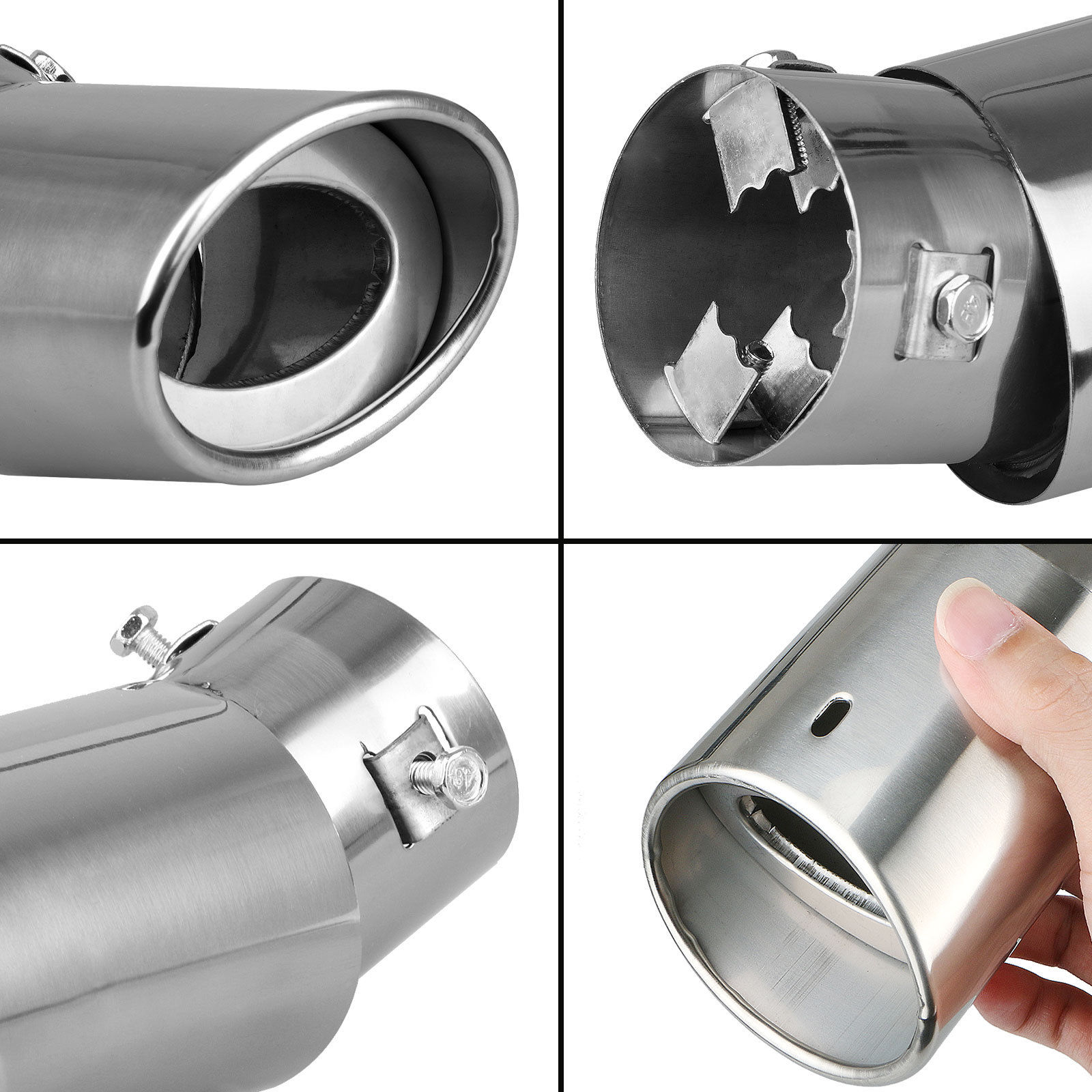 Universal Tail Muffler Tip Pipe Stainless Steel Chrome For RV Car Exhaust SUV