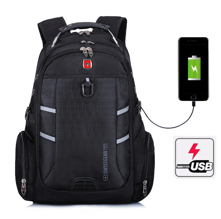3a98efdf4fd4 Details about swissgear Christmas USB Charger Men Bags 15.6inch Laptop  Backpacks Waterproof