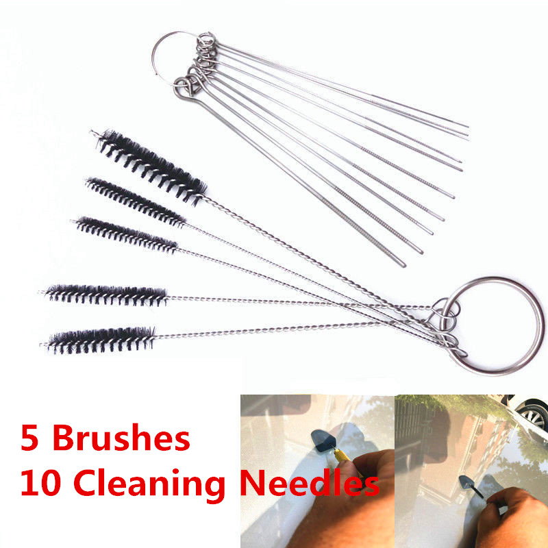 5 Brushes 10 Cleaning Needles Carburetor Carbon Dirt Jet Remove Tool For Yamaha