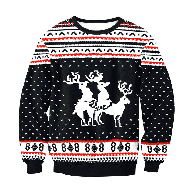 Details about Christmas Sweater Knitwear Threesome Humping Reindeer Jumper Xmas Party