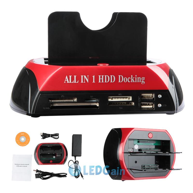 "USB 2.0/3.0 2.5"" 3.5"" SATA IDE Hard Disk Drive HDD Docking USB HUB Card Reader 101"