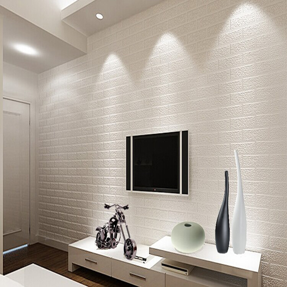 Details About Thickening White Brick Pvc Wallpaper Wall Rustic Tv Background 0 53m 10m 5 3