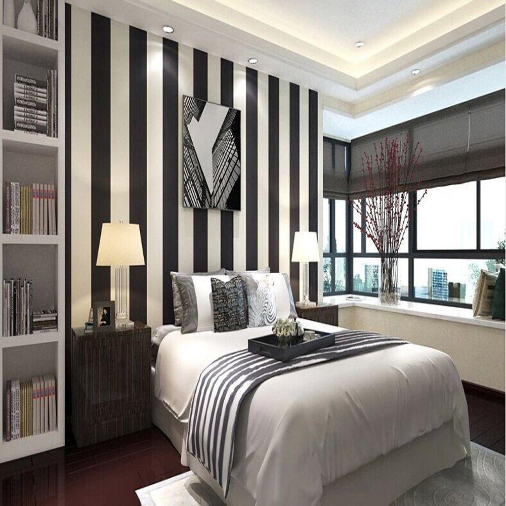 Modern Minimalist Pvc Stripes Wallpaper Roll Black White