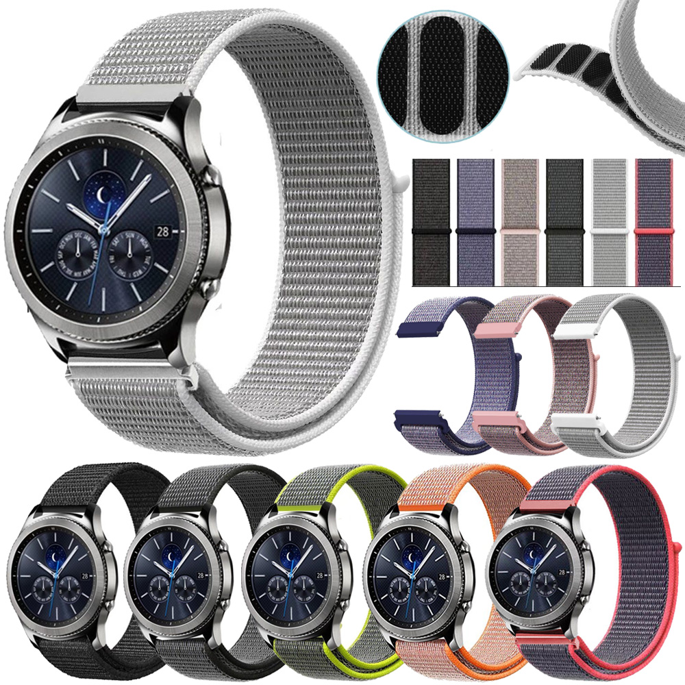 Woven Nylon Sport Loop Band Strap For Samsung Gear S2 S3 Sport Classic 20//22MM