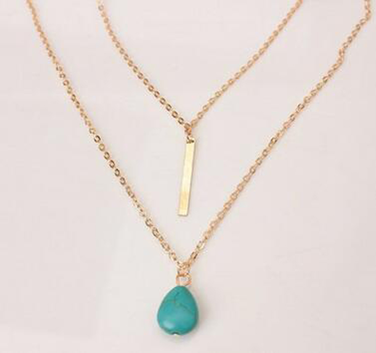 Fashion simple necklaces leaf long pendant necklaces 3 layer chain fashion simple necklaces leaf long pendant necklaces 3 aloadofball Gallery