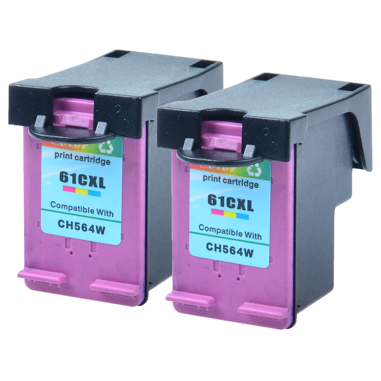 US STOCK 2PK 61XL CH564WN Color Ink Cartridge For HP