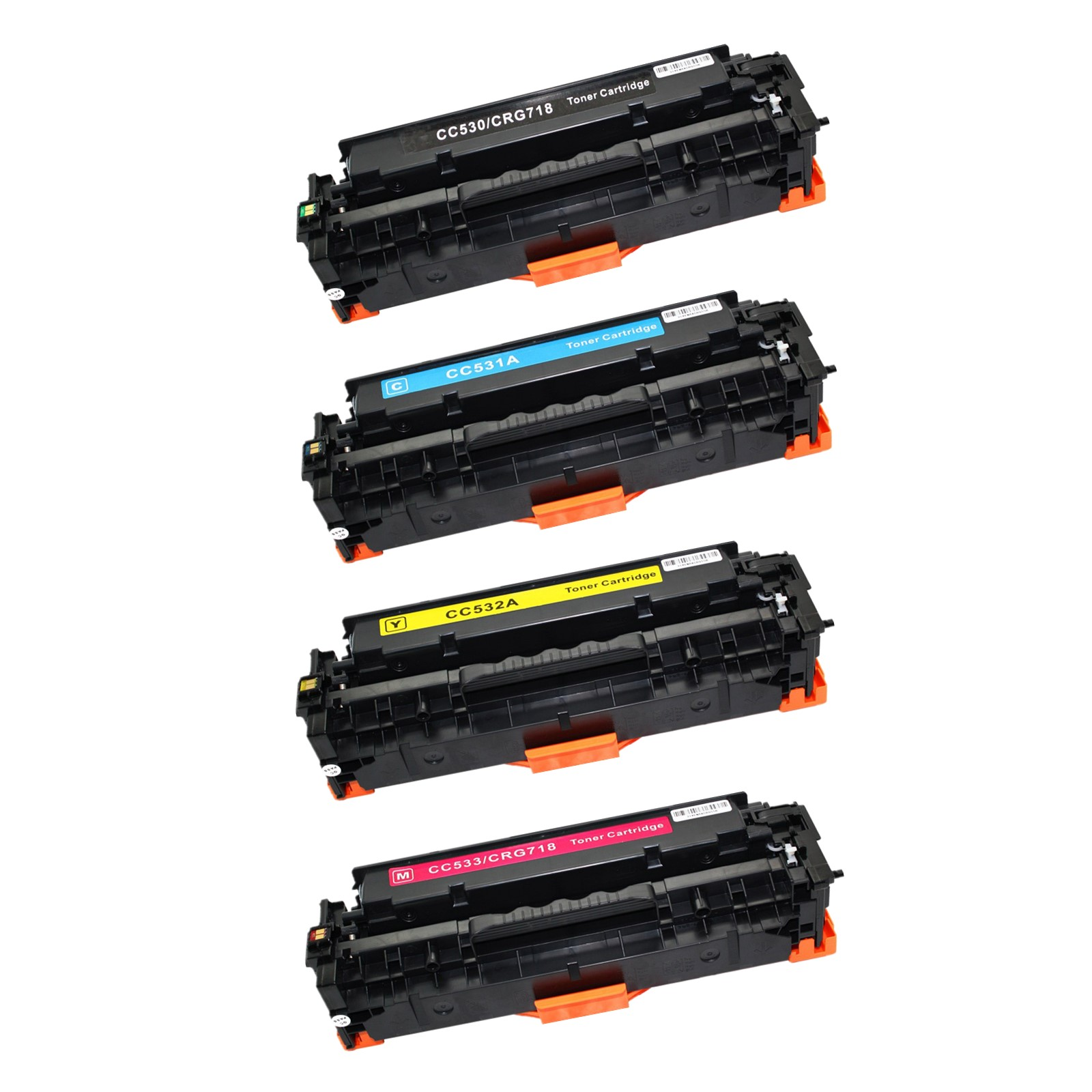 Cyan Yellow Magenta-Combination Compatible Toner Cartridge Replacement for Hp Cc530a Hp Color Laser Jet Cp2025 Cp2025n Cp2025dn Cp2025x Cm2320n Cm2320nf Printer with Chip Black
