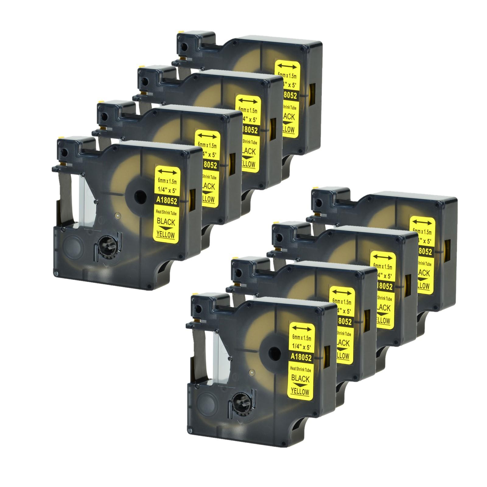 "2PK Heat Shrink Tube Wire Label Cartridge 18052 For Dymo RHINO 5200 3000 1//4/"""