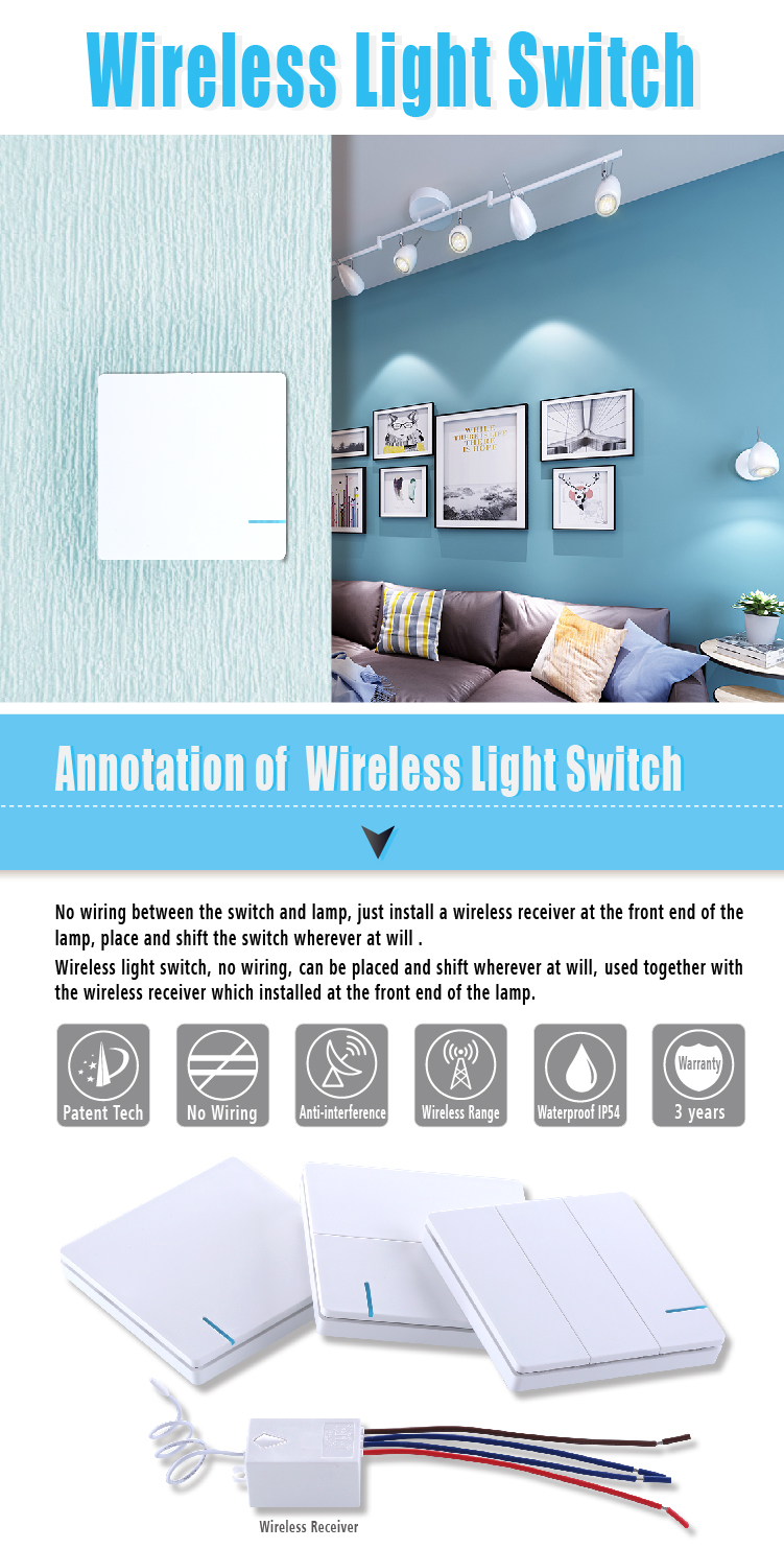 Wireless Rf Power Lighting Light 2pk Switches 1pk Remote Control No Wiring Wall Lamp 1 Way