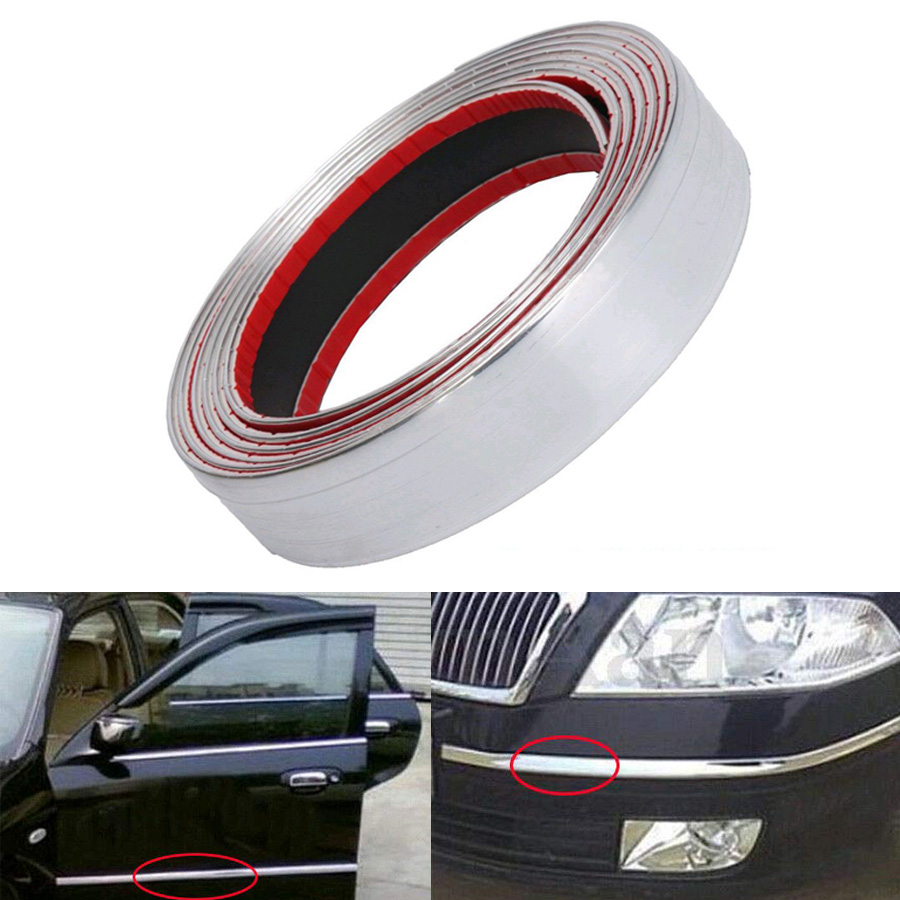 Car Bumper Door Edge Lip Guard Protector Chrome Silver Moulding Trim Strip 2.5M