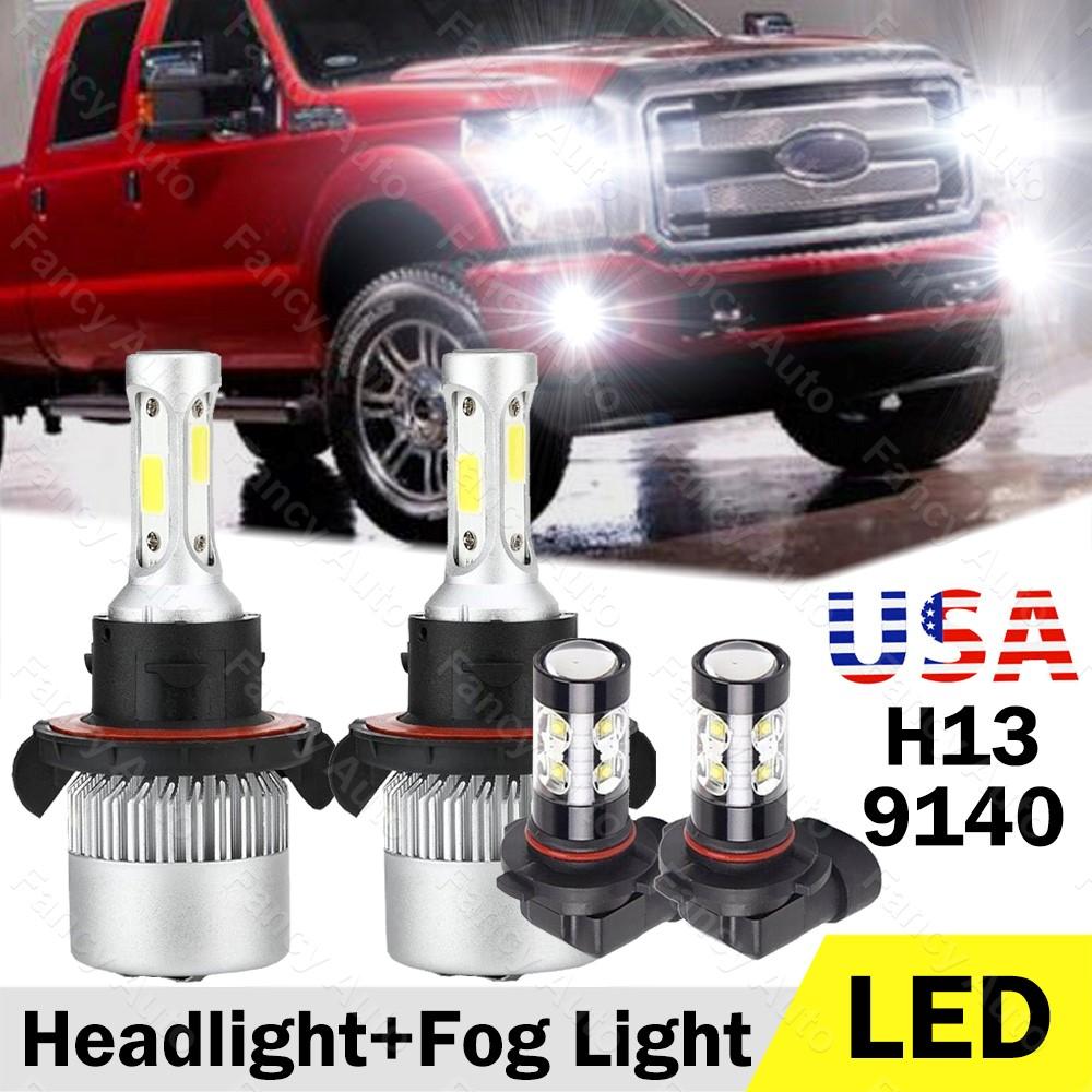 H13 4-Side LED Headlight Bulb+9145 9140 H10 Fog Light for 2005-16 Ford F250 F350