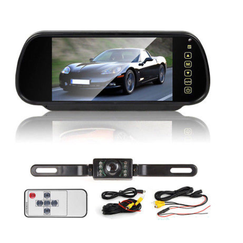 "7/"" LCD Car Rear View Backup Mirror Monitor+Wireless Reverse IR Camera Kit MAS"