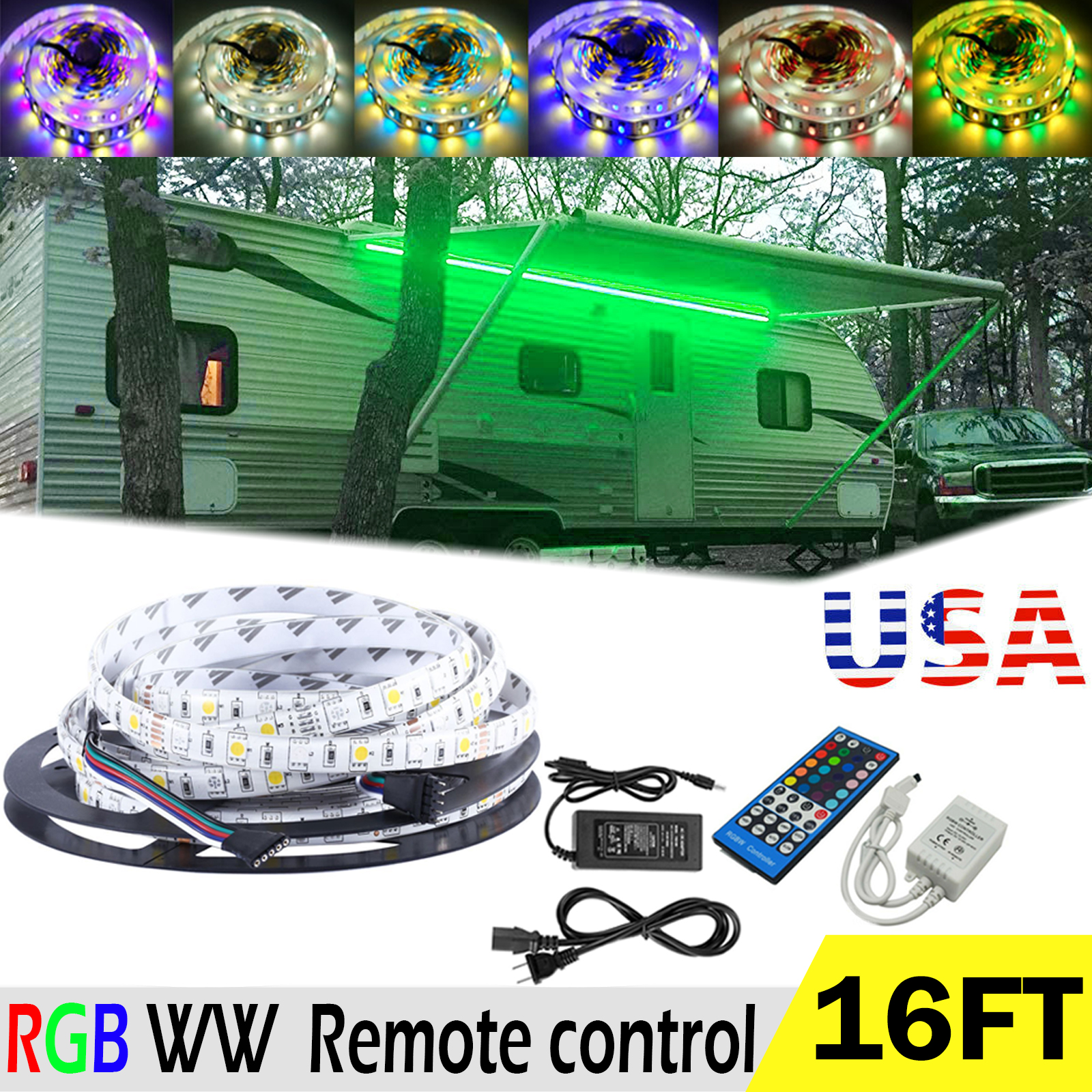 RV Awning Camper 16ft RGB WW Color Changing LED Strip ...